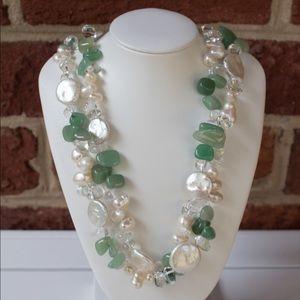 Jadeite & Pearl Statement Necklace